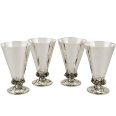 1930s Set of Four Sterling Silver Vases