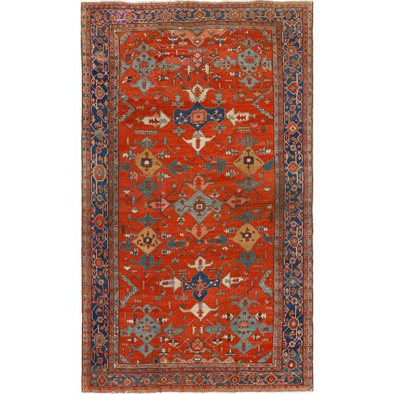 Large Red Antique Serapi Persian Rug