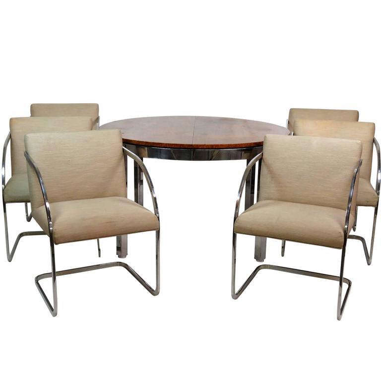 Chrome Dining Room Sets: Milo Baughman Burl Walnut And Chrome Dining Set With Six