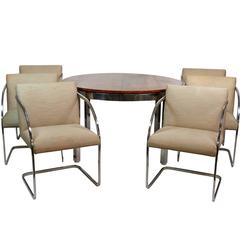 Milo Baughman Burl Walnut and Chrome Dining Set with Six Chairs