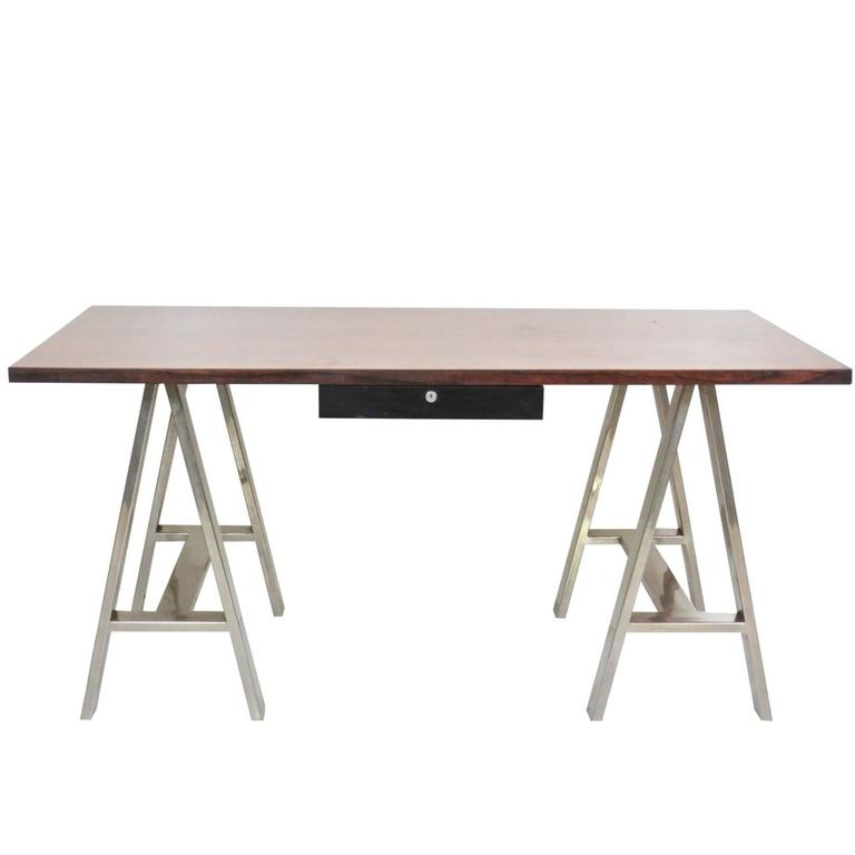 Modern design sawhorse chrome leg desk for sale at 1stdibs Sawhorse desk legs