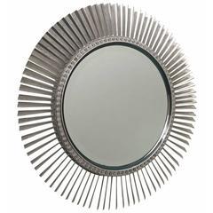 Round, Mid-Century Titanium Mirror Made from Rolls Royce Aircraft Engine Blades