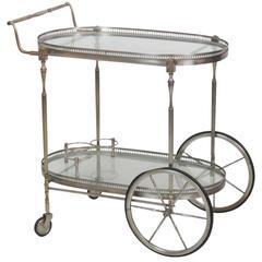 Directoire Style Chrome and Glass Bar Cart