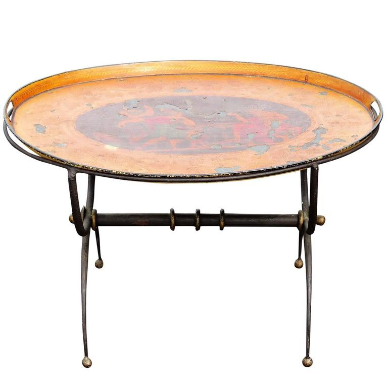 Tole Painted Tray Top Metal Coffee Table For Sale At 1stdibs