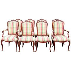 Eight Country French Style Carved Walnut Dining Chairs