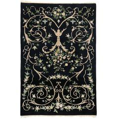 Vintage Indian Rug with Black Field and Modern Aubusson Style
