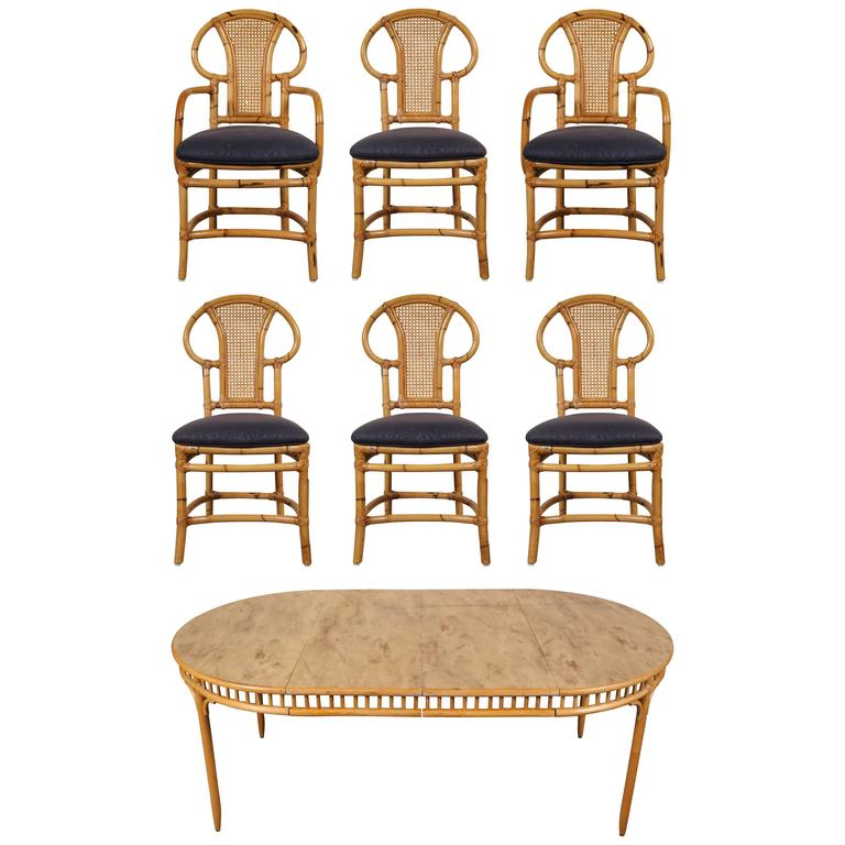 Rattan Table and Chair Set by Willow and Reed For Sale