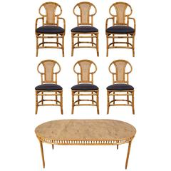 Rattan Table and Chair Set by Willow and Reed