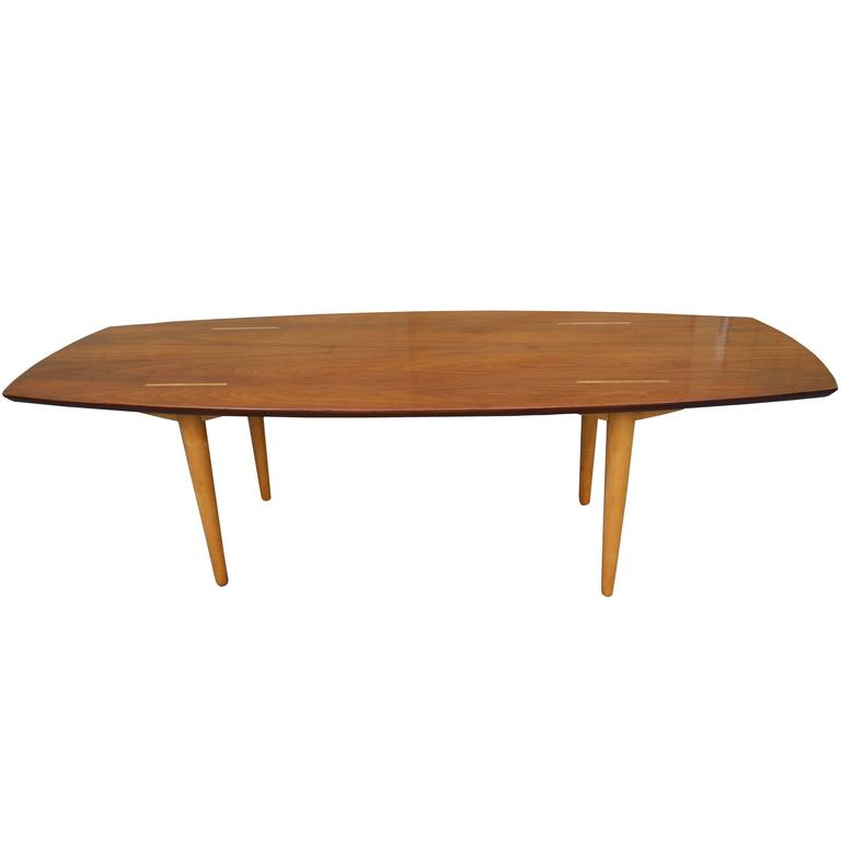 Unique Walnut and Birch Modern Coffee Table by Abel Sorenson for Knoll