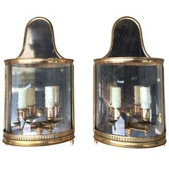 Pair of 20th Century Gilt Bronze Regency Style Sconces, Mirrored Back