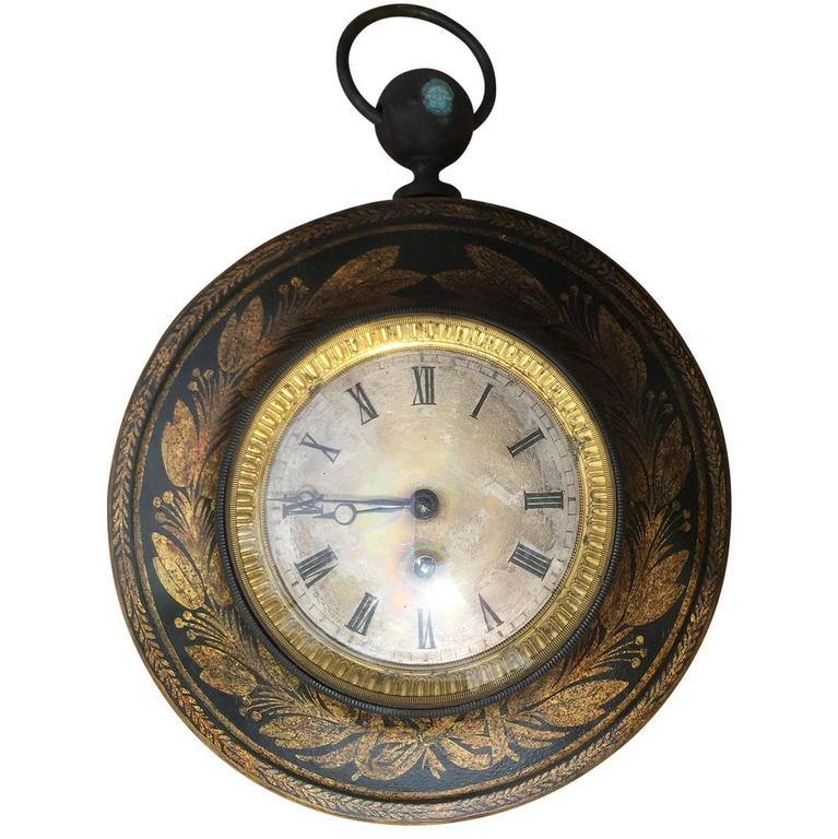 19th Century French Tole Clock For Sale
