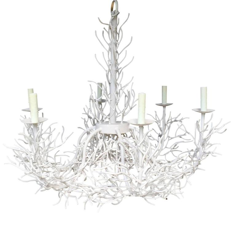 large white iron coral chandelier  circa 1970 at 1stdibs