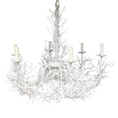 Large White Iron Coral Chandelier, circa 1970