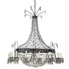 1940s Large Crystal Chandelier