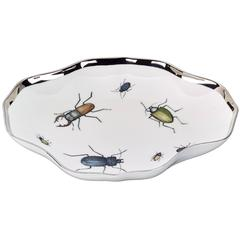 Modern Hand-Painted Porcelain Dish with Beetles by Sofina Porcelain