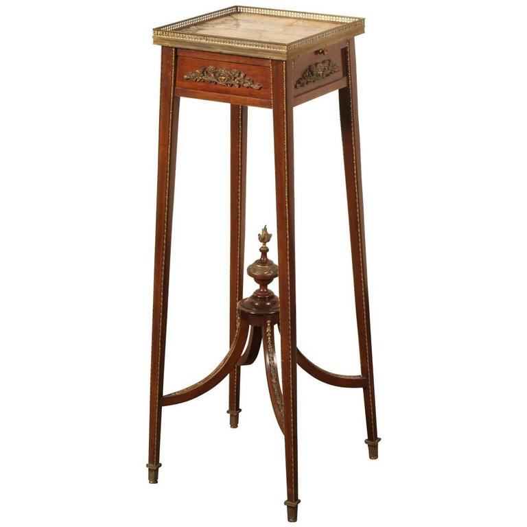 Fine French Linke Quality Marble-Top Pedestal Stand