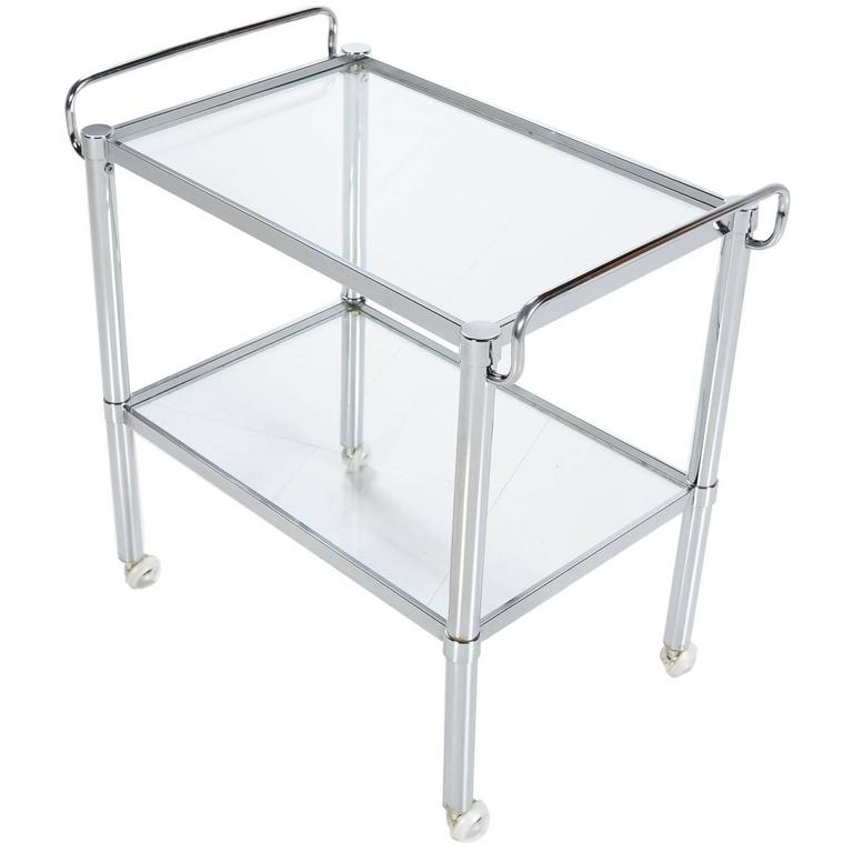 Mid-Century Modern Milo Baughman Style Chrome and Glass Bar Cart, 1960s