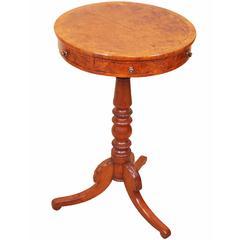 Antique Regency Burr Oak Drum Type Occasional Table