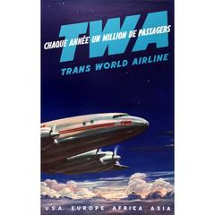 Original Vintage TWA Trans World Airline Travel Poster - USA Europe Africa Asia