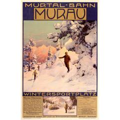 Original Murtal Bahn Travel Poster for Skiing and Winter Sports in Murau Austria