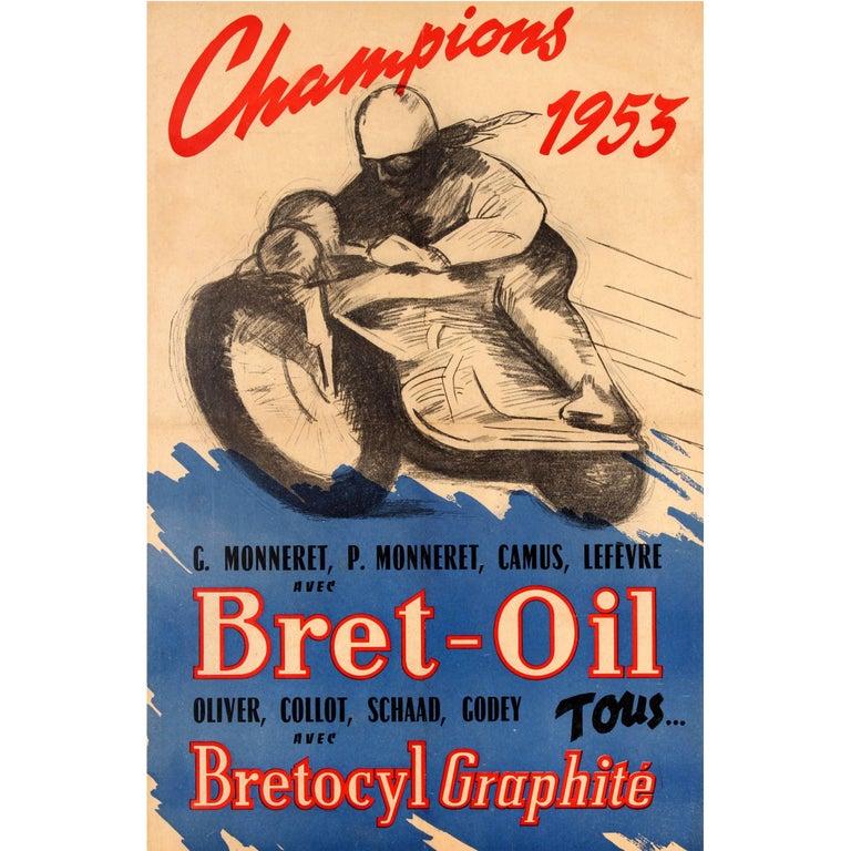 Original Vintage Bret Oil Motor Racing Sport Poster - Motorcycle Champions 1953 For Sale