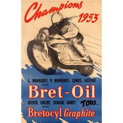 Original Vintage Bret Oil Motor Racing Sport Poster, Motorcycle Champions 1953