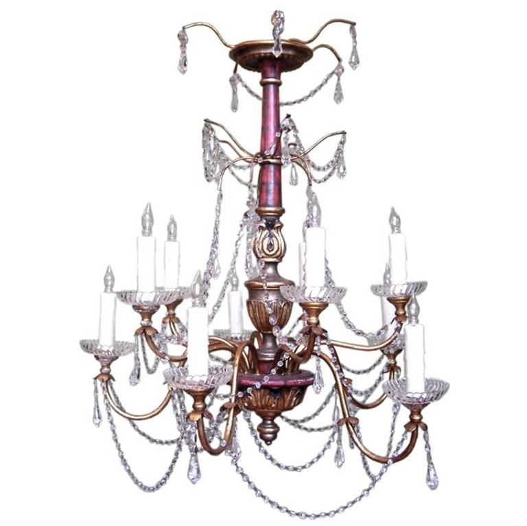 20th Century Italian Genoese Faux Painted Giltwood, Tole and Crystal Chandelier