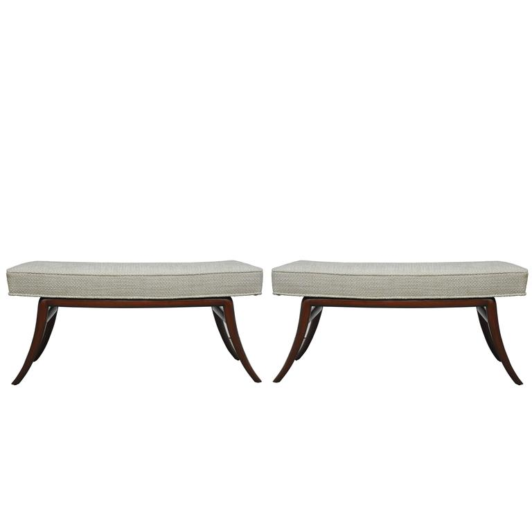 Sabre Leg Bench Pair by T.H. Robsjohn-Gibbings 2