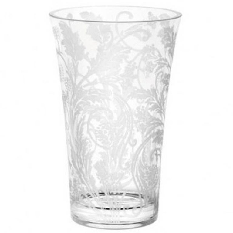 20th Century Crystal Etched Vase Marly By Christofle Silver