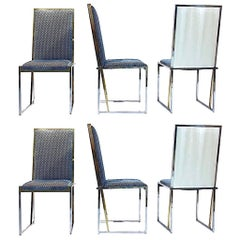 Liwan's 1970s Italian 6 Blue & Satin White Fabric Brass & Chrome Modern Chairs