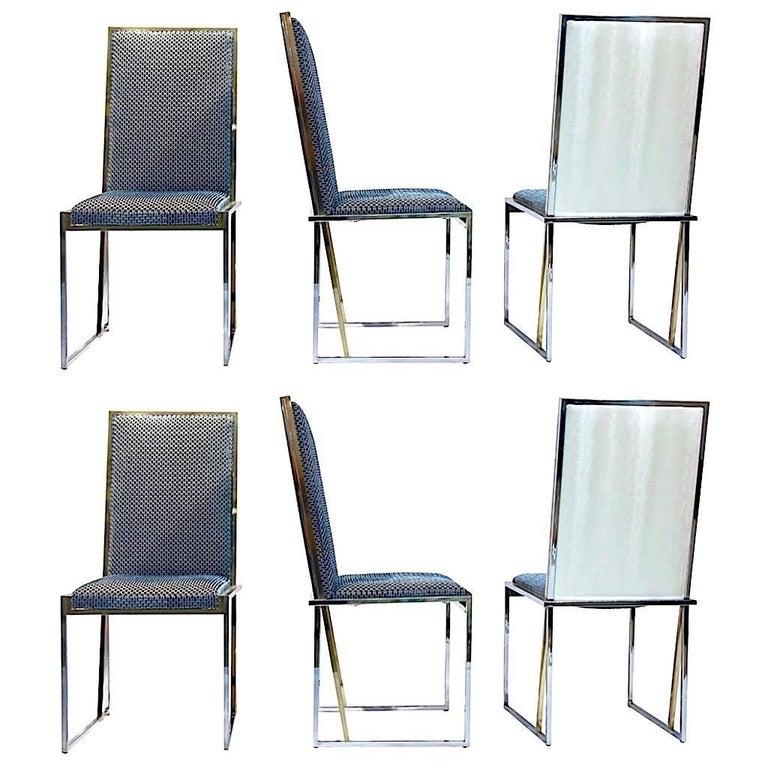 Liwan's 1970s Italian 6 Blue & Satin White Fabric Brass & Chrome Modern Chairs For Sale