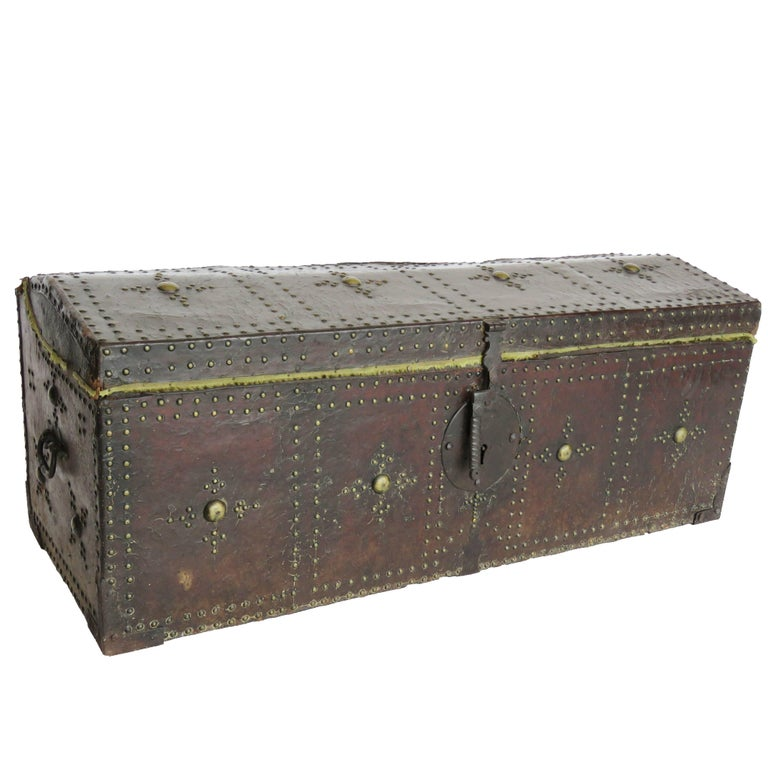 18th Century Spanish Leather Mounted Coffer Trunk For Sale