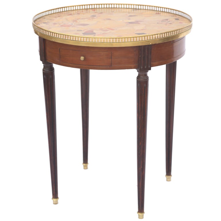19th Century French Bouillotte Table with Breche D'alep Marble Top For Sale