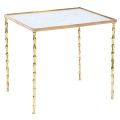Bagues Style Accent Table of Brass with Mirrored Top