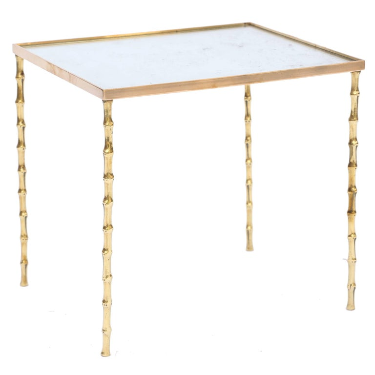 Bagues Style Accent Table Of Brass With Mirrored Top For