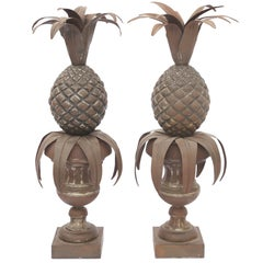 Pair of Tole Pineapples in Urns