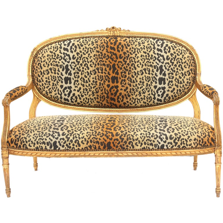 Carved Giltwood Louis XVI Settee, Upholstered in Leopard