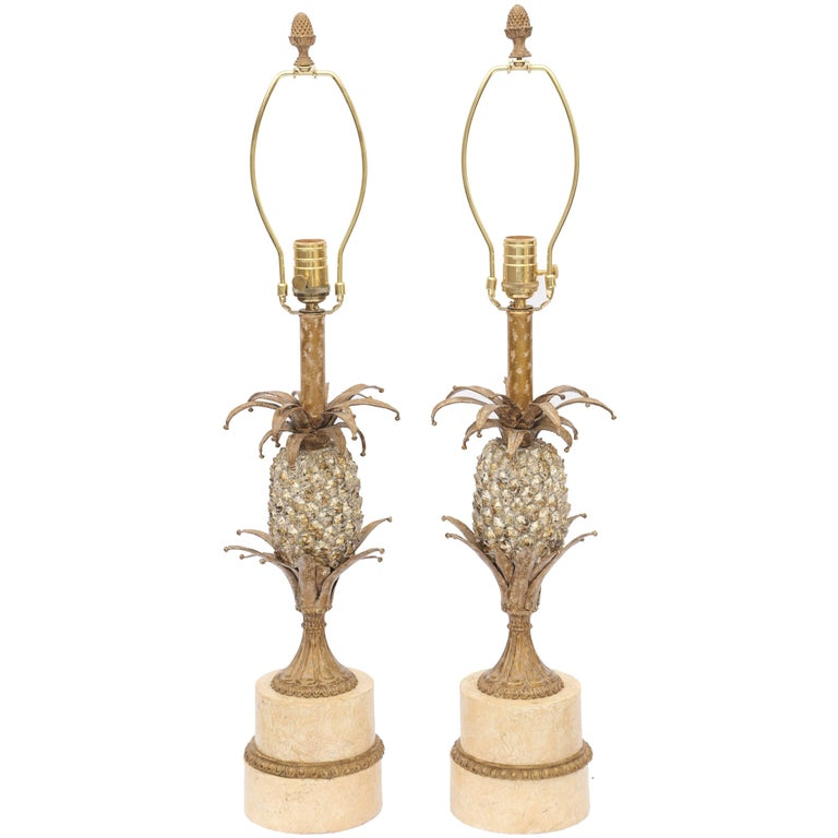 Pair of Gilt Metal Pineapple Form Table Lamps