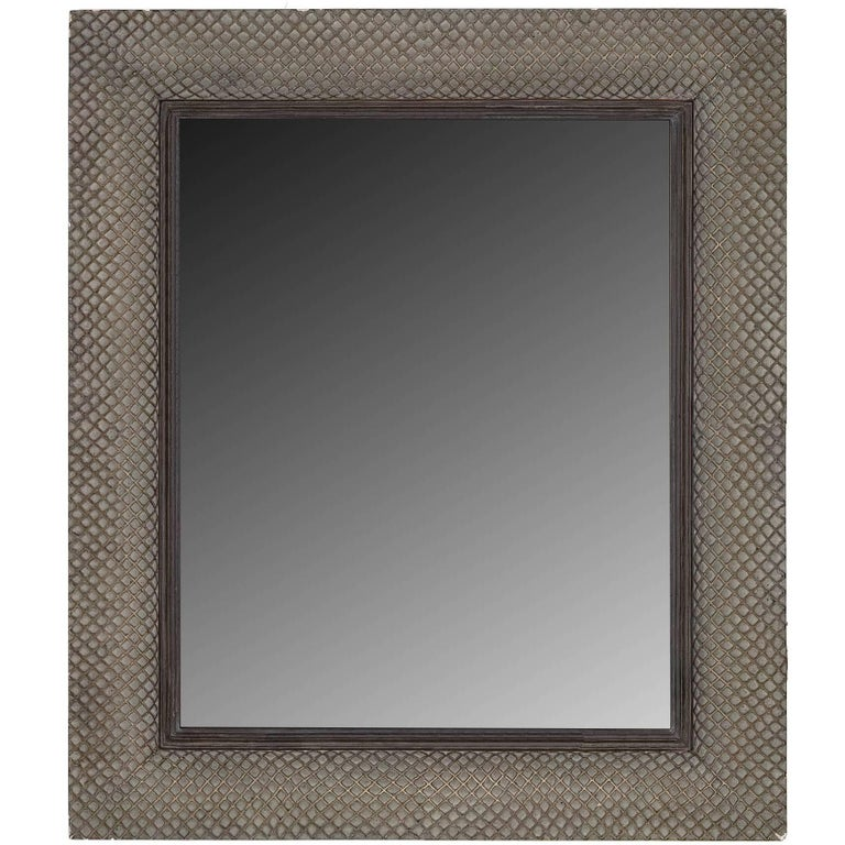 Modernist Basketweave Style Mirror For Sale
