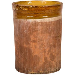A Cylindrical Pot with Yellow-Banded Glazed Detail
