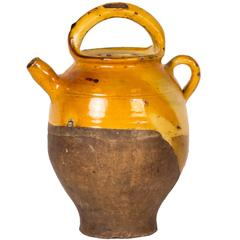 Late 19th Century Glazed Yellow Pot with Handle from France