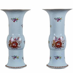 Grand Pair of, circa 1915 Armorial Vases for the U.K. Market