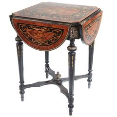 Fine French Marquetry Drop Leaf Table