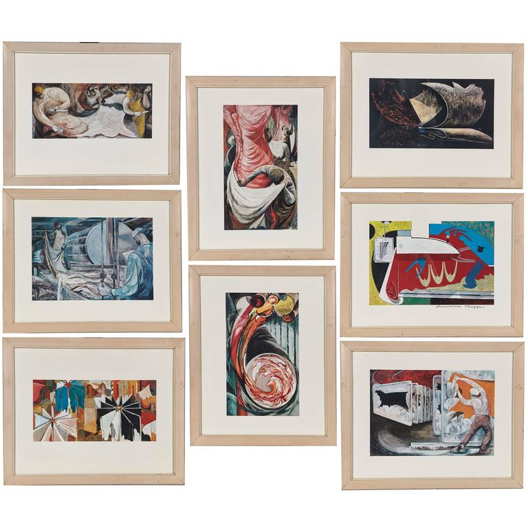 ea77e01787 1958 Franklin Boggs Leather Tannery Series of Prints, Set of Eight