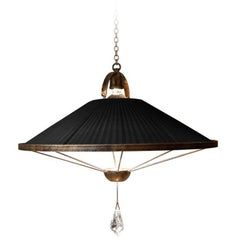 """Sunshine"" Pendant Lamp black chiffon silk ,crystal pendant, brass"