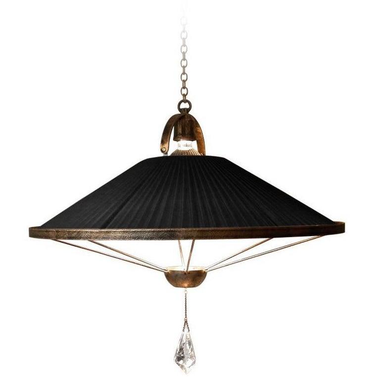 """Sunshine"" Pendant Lamp black chiffon silk ,crystal pendant, brass For Sale"