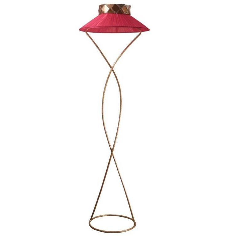 Joey Standing Floor Lamp Handmade Brass with Skin Effect Hammered Silk Shade