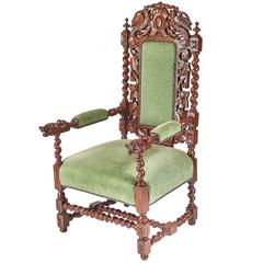 Carved Oak Baronial Throne