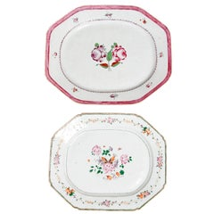 Chinese Export Platters / Hand-Painted Floral Decoration