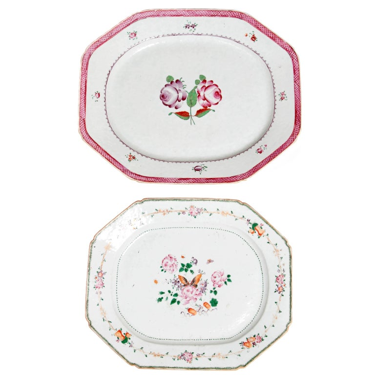 Chinese Export Platters / Hand-Painted Floral Decoration 1